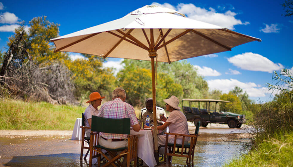 Picnic in the river at Samara Private Game Reserve, Great Karoo, South Africa