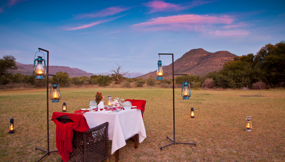 Valentine's Day dinner at Samara Private Game Reserve, Great Karoo, South Africa