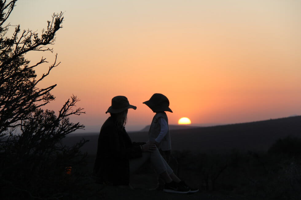 Family silhouettes, Samara Private Game Reserve, Great Karoo, South Africa