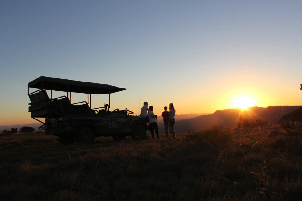 Sundowners overlooking the Plains of Camdeboo, Samara Private Game Reserve, Great Karoo, South Africa