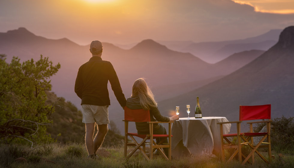 Romantic drinks at Samara Private Game Reserve, Great Karoo, South Africa